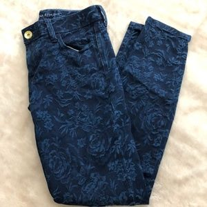 Banana Republic Floral Blue Skinny Ankle Jeans-25